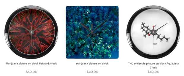 Clocks with cannabis Buds.THC