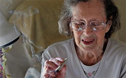 Woman smoking Medical Marijuana